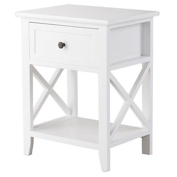 Shop Costway End Bedside Table Nightstand Drawer Storage