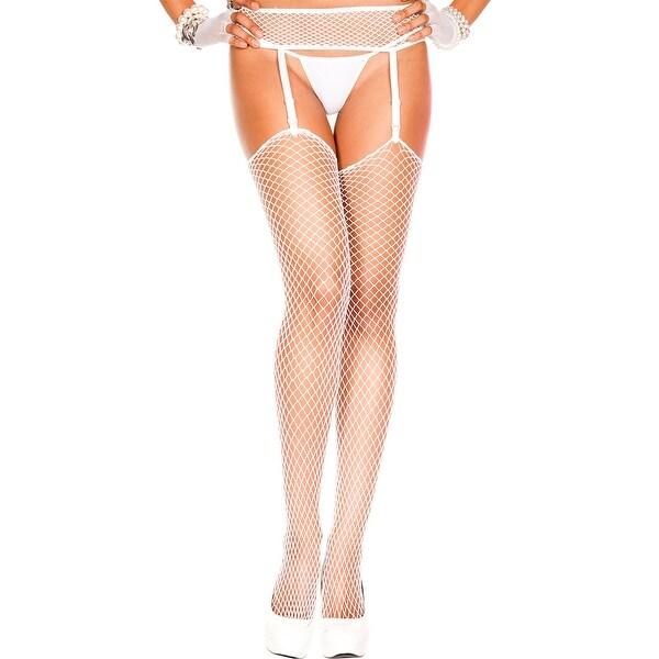 1516ffb5a4209 Shop Diamond Net Thigh High Stockings With Garter Belt