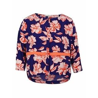 Rachel Roy Women's 3/4 Sleeve Floral Print Top - deep lilac/quince combo - xL