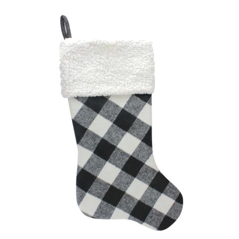 """23"""" Black and White Rustic Checkered Christmas Stocking"""