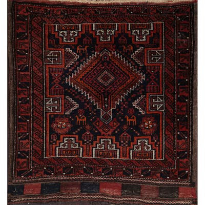 """Traditional Tribal Balouch Oriental Area Rug Hand-knotted Wool Carpet - 2'5"""" x 2'5"""" Square"""