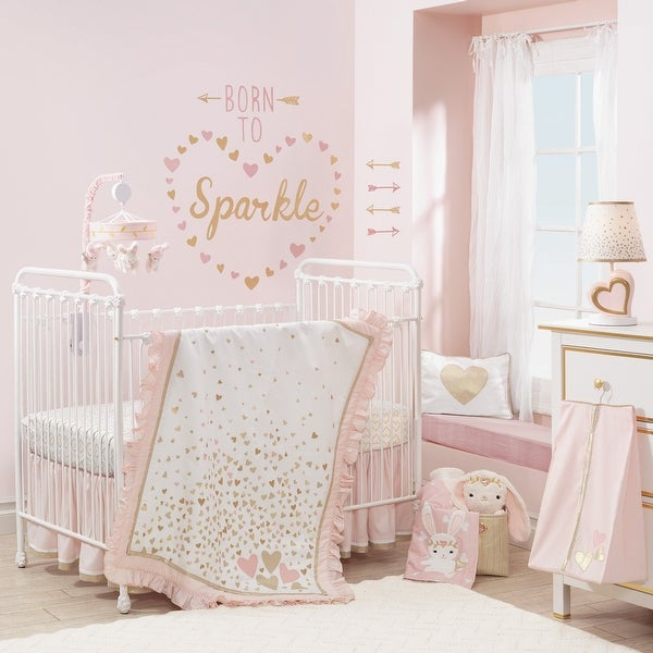 shop lambs ivy confetti pink white gold hearts nursery 4 piece baby crib bedding set free. Black Bedroom Furniture Sets. Home Design Ideas