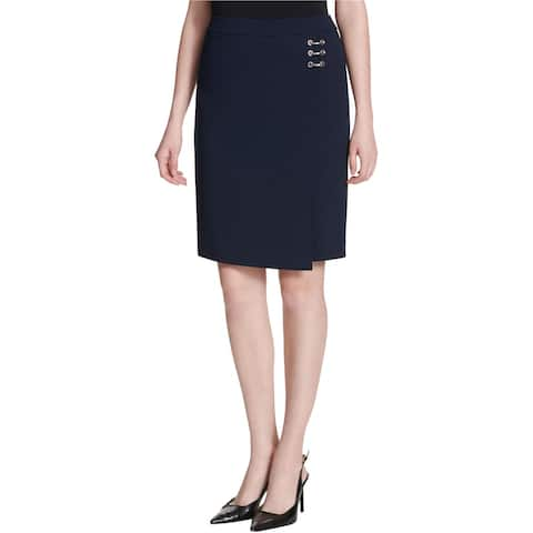 Calvin Klein Womens Embellished Wrap Pencil Skirt, blue, 8