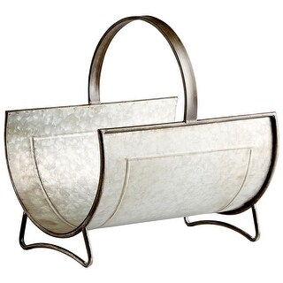 "Cyan Design 09848  Galway 14"" Wide Iron and Metal Magazine Rack - Galvanized"