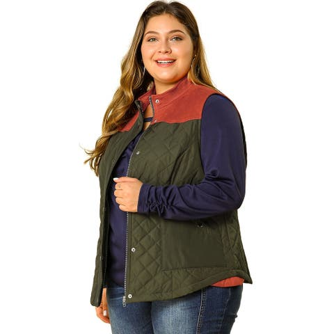 Womens Plus Size Gilets Color Block Stand Collar Lightweight Quilted Vest with Pockets - Army Green