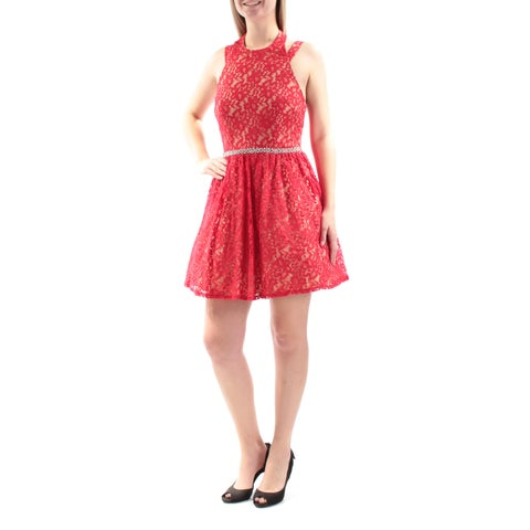 Womens Red Beige Sleeveless Above The Knee Fit + Flare Party Dress Size: 11