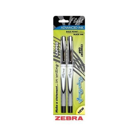 Zebra 21812 flight stick 1 2mm ballpoint pens black 2-pack