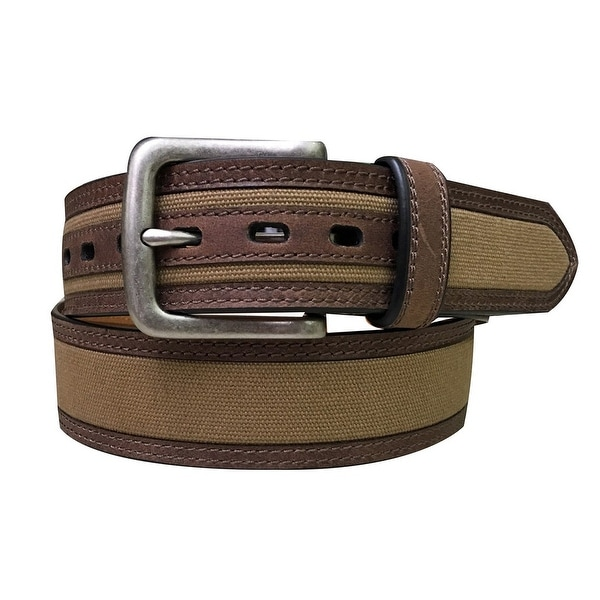 Berne Work Belt Mens Leather Canvas Antique Nickel 46 Brown 7512500
