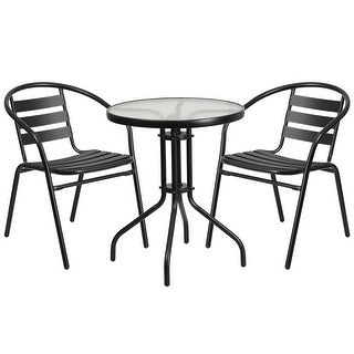 Skovde 3pcs Round 23.75'' Glass Metal Table w/2 Black Stack Chairs