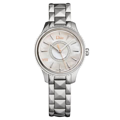 Christian Dior Women's CD152110M004 'Montaigne' Mother of Pearl Diamond Dial Stainless Steel Swiss Quartz Watch