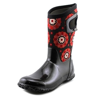 Bogs Kaleidoscope Youth Round Toe Canvas Black Rain Boot