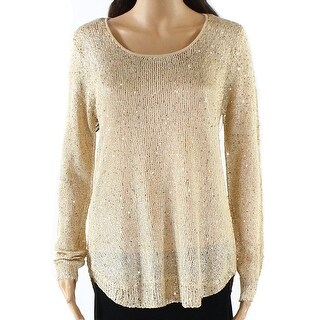Catherine Malandrino NEW Beige Womens Size Large L Scoop Neck Sweater