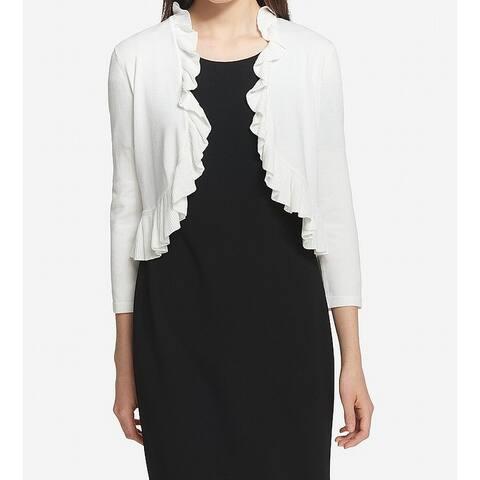 Tommy Hilfiger Women's White Size Large L Ruffle Trim Cardigan Sweater