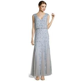 Aidan Mattox Sequined Mesh Blouson Long Evening Gown Dress - 6