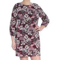 JESSICA HOWARD Womens Burgundy Paisley Long Sleeve Jewel Neck Above The Knee Shift Dress Petites  Size: 12