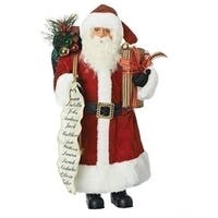 "16"" Red and White Christmas Santa Claus with List Decorative Tabletop Figure"