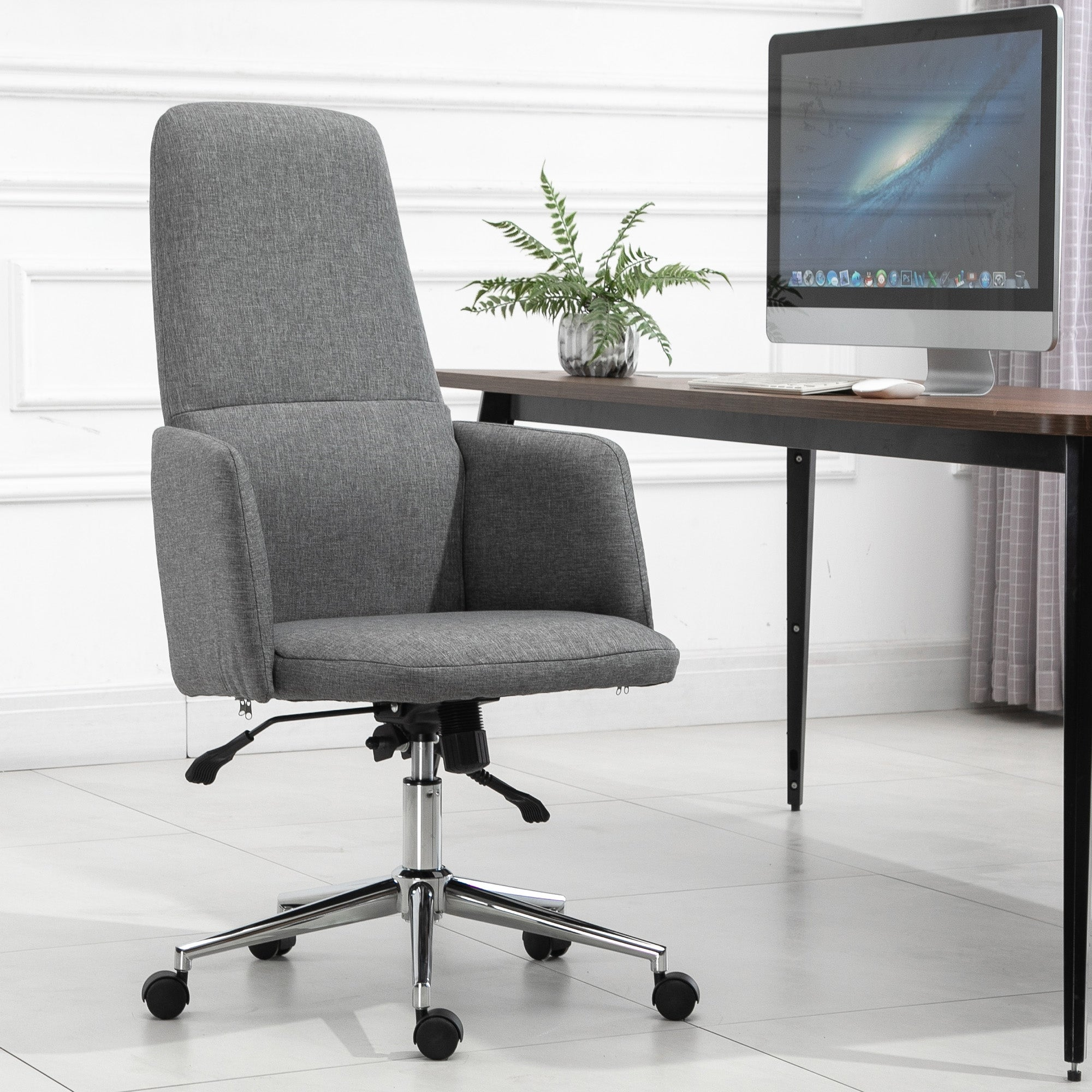 Vinsetto Soho Style High Back Office Chair Breathable Fabric Computer Home Rocking With Wheels Grey Overstock 32369129