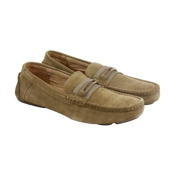 Calvin Klein Merek Suede Mens Tan Suede Casual Dress Slip On Loafers Shoes