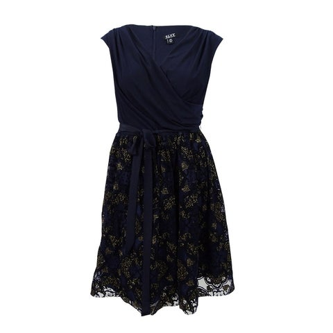 SLNY Women's Metallic-Print Fit & Flare Dress - Navy/Gold