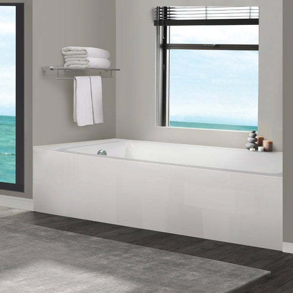 Fine Fixtures Acrylic-Fiberglass Soaking Bathtub, White. Alcove/Apron Front