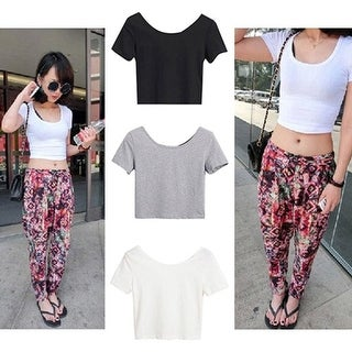 Link to Women Sexy Scoop Neck Crop Tops Short Sleeve Bare Midriff Casual Blouse T-Shirt Similar Items in Intimates