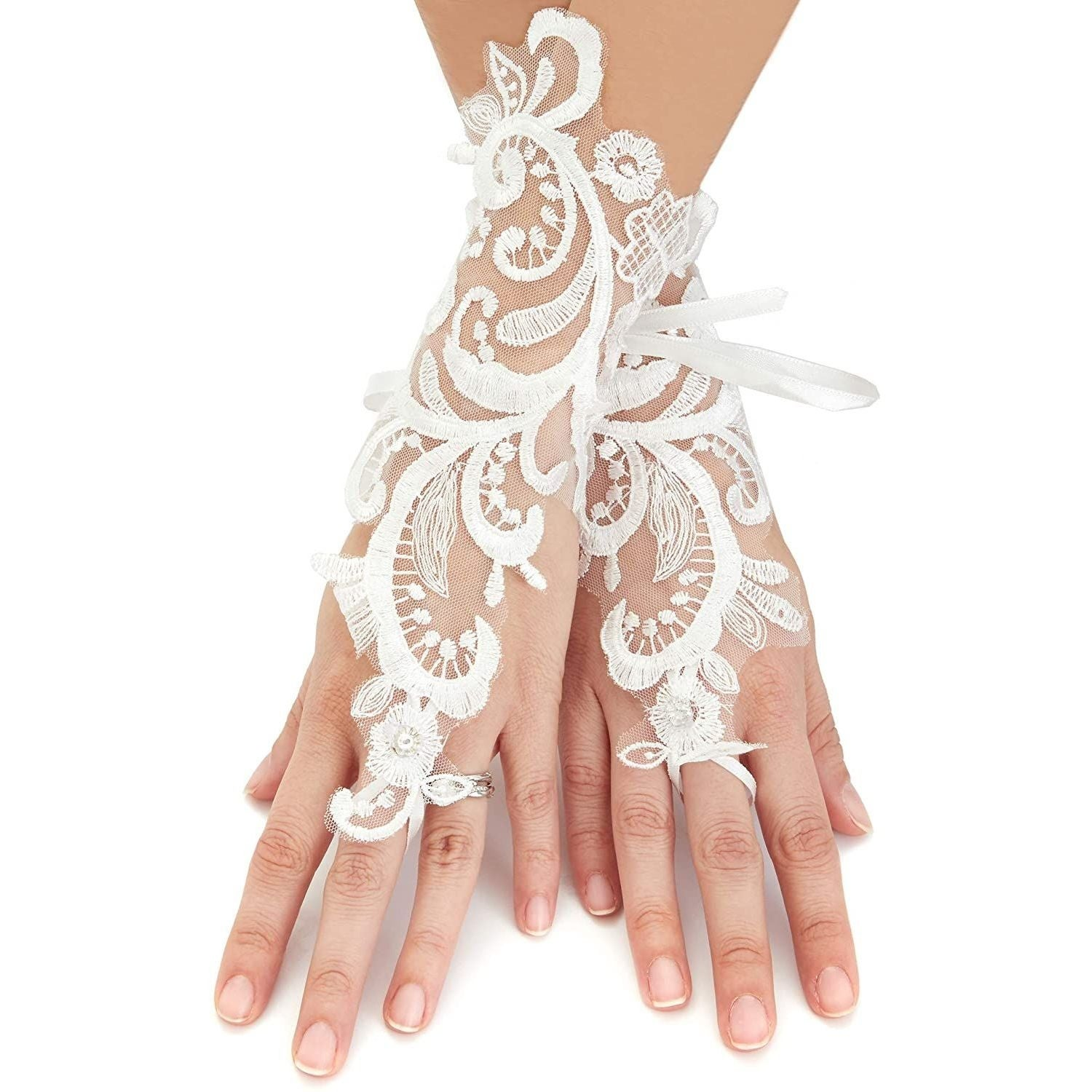 Womens Lace Fingerless Short Gloves Bridal Rhinestone Gloves for Wedding Party