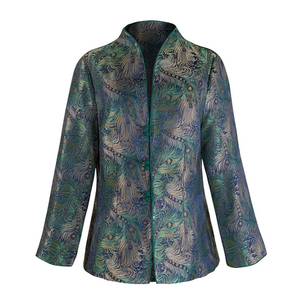 Women's Iridescent Peacock Tapestry Stand Collar Jacket