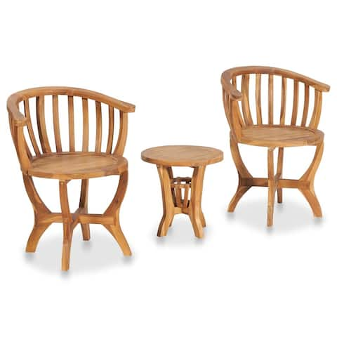 vidaXL 3 Piece Garden Bistro Set Solid Teak Wood