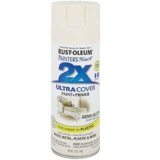 Rust-Oleum 249860 Painter's Touch 2x Paint+Primer Enamel Spray, 12 Oz, Ivory Bisque