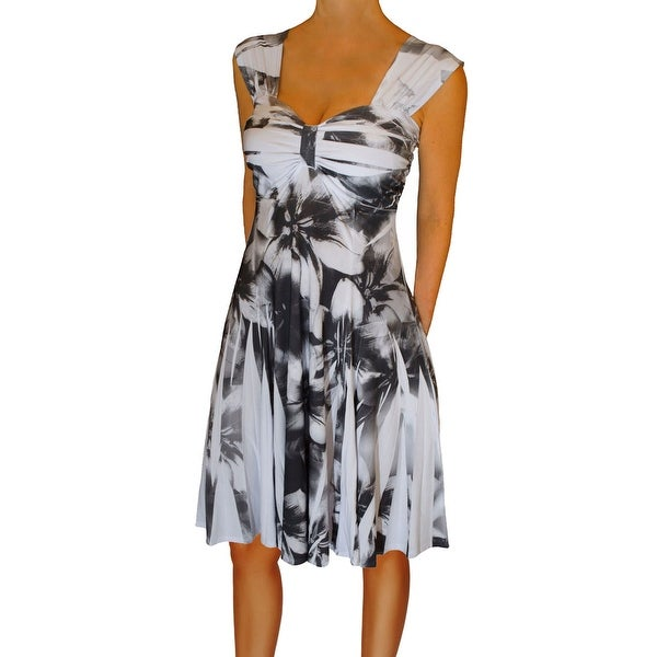 Funfash Plus Size Dress Black White Empire Waist Cocktail Dress