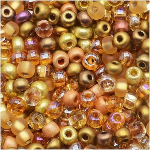 Czech Seed Beads 8/0 All That Glitters Golden Topaz Copper (1 Ounce)