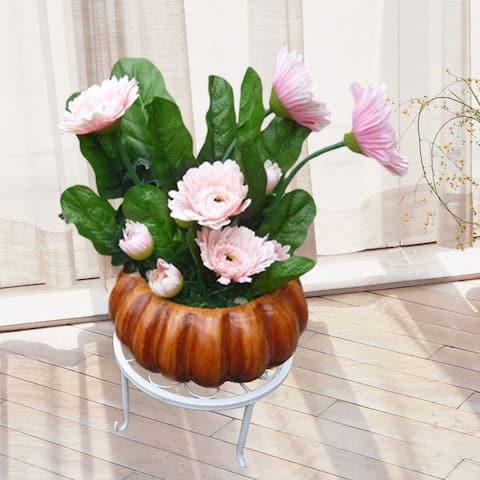Plant Stand Floor Flower Pot Rack Round Iron Home Garden Indoor Balcony Decor