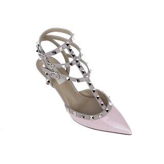 Valentino Light Pink Leather Rockstud 65MM Ankle Strap Pump