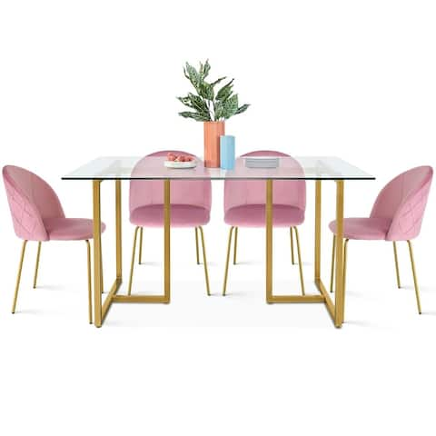 modern dining set with 4 velvet chairs glass table for kitchen