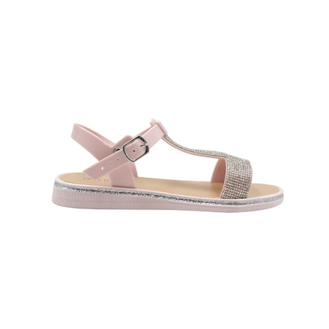 Fifth & Luxe Women's Slip-On PCU Sandals with Rhinestone Straps, Open-Toe Flat Fashion Summer Shoes