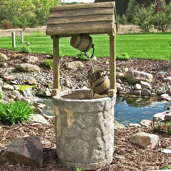 Sunnydaze American Outdoor Wishing Well Water Fountain 49 Inch Tall
