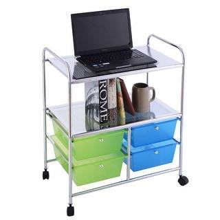 Costway 4 Drawers Rolling Storage Cart Metal Rack Shelf Home Office Furniture 2 Shelves