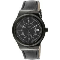 Swatch Men's Sistem Slate  Black Leather Swiss Quartz Fashion Watch
