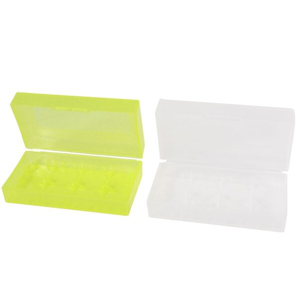2pcs Portable Plastic Battery Holder Case Box Clear Yellow for 18670 Batteries