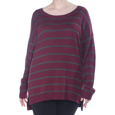 ARIZONA Womens Maroon Striped Long Sleeve Jewel Neck Sweater Size 1X