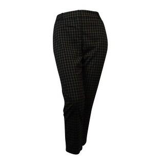 Charter Club Women's Window-Pane Classic Slim Leg Ankle Pants - Deep Black