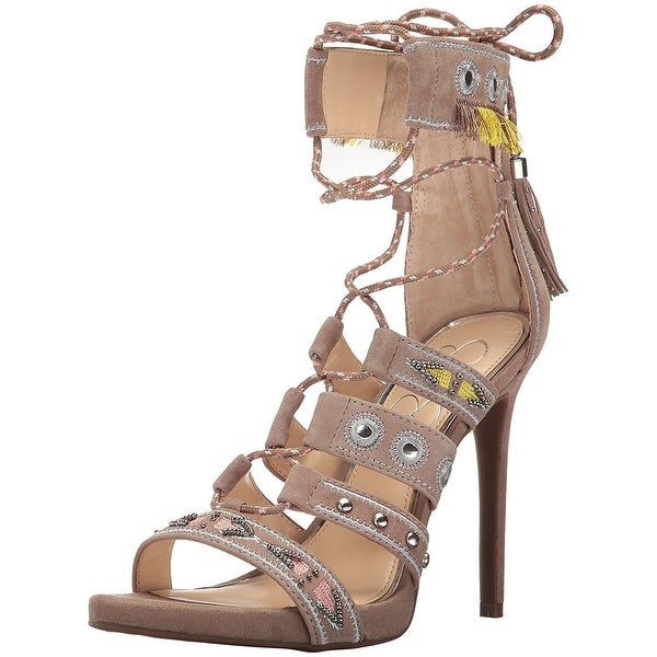 Jessica Simpson Womens Roona Open Toe Special Occasion, Warm Taupe, Size 9.0 - 9