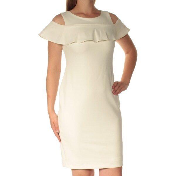 cdff06ecee18 Shop CALVIN KLEIN Womens Ivory Cold Shoulder Short Sleeve Jewel Neck Above  The Knee Sheath Dress Petites Size: 12 - On Sale - Free Shipping On Orders  Over ...