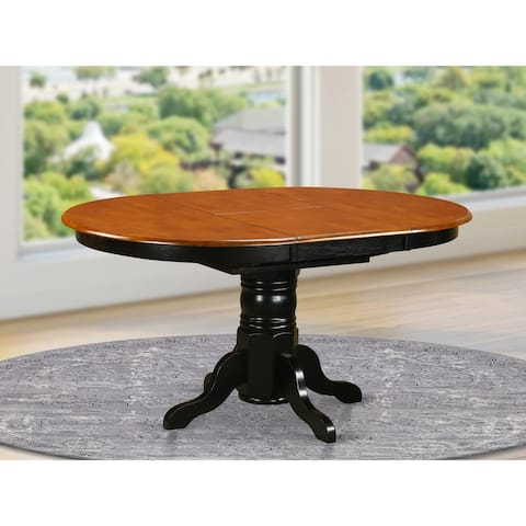KET-BLK-TP Oval Dining Table - Cherry Table Top and Black Finish Pedestal Legs Solid Wood Wood Kitchen Table (Pieces Option)