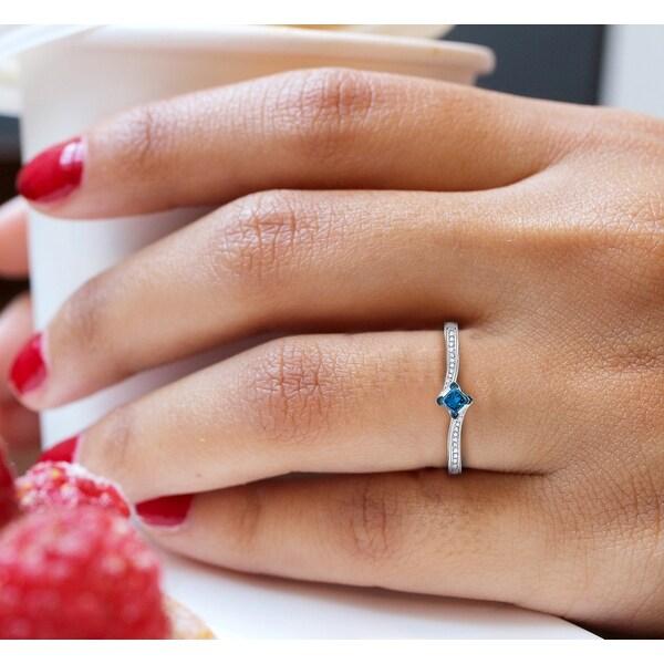 Prism Jewel 0.18Ct Princess Blue Color Diamond and Round Diamond Engagement Ring