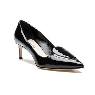 Miu Miu Women's Leather Inverted Toe Design Heel Shoes Black - 8.5 us