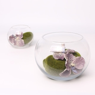 G Home Collection Luxury Purple Butterfly Valley in Glass Vase (Set of 2) - Green