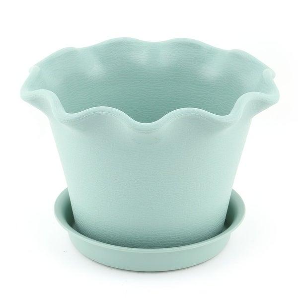 Office Table Plastic Petal Shaped Succulent Plant Flower Pot Holder Turquoise