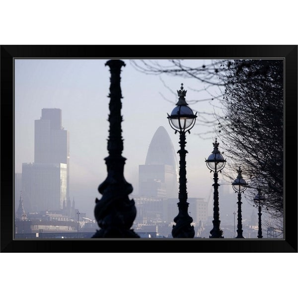 """England, London, lampposts by River Thames"" Black Framed Print"