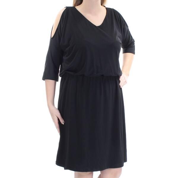 INC Womens Black Cut Out 3/4 Sleeve V Neck Knee Length Blouson Dress Plus  Size: 0X